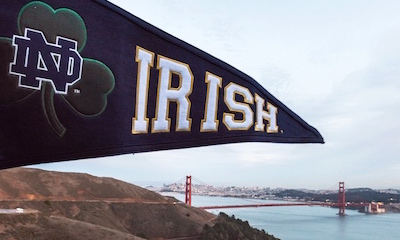 Notre Dame Pennant With Golden Gate Bridge In The Background